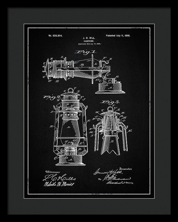 Vintage Lantern Patent, 1899 - Framed Print from Wallasso - The Wall Art Superstore