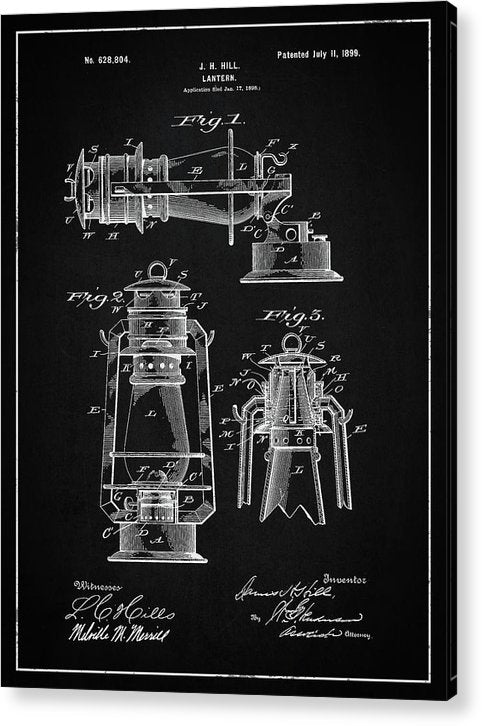 Vintage Lantern Patent, 1899 - Acrylic Print from Wallasso - The Wall Art Superstore