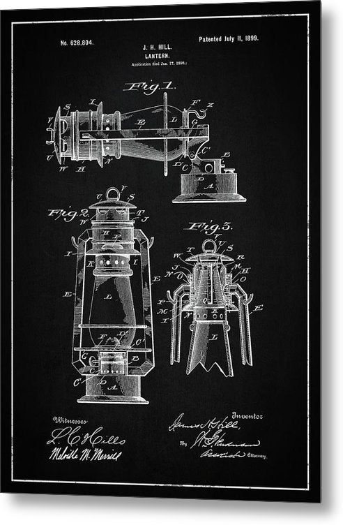 Vintage Lantern Patent, 1899 - Metal Print from Wallasso - The Wall Art Superstore