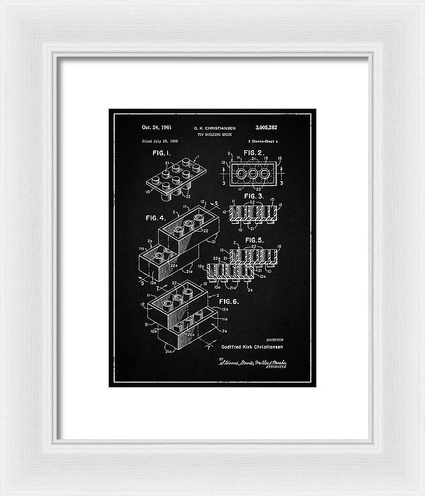 Vintage Lego Brick Patent, 1958 - Framed Print from Wallasso - The Wall Art Superstore