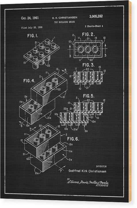 Vintage Lego Brick Patent, 1958 - Wood Print from Wallasso - The Wall Art Superstore