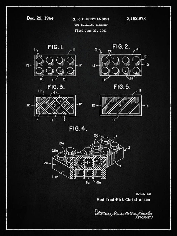 Vintage Lego Brick Patent, 1964 - Art Print from Wallasso - The Wall Art Superstore