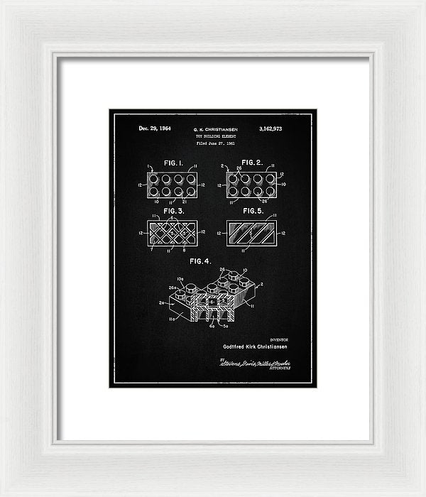 Vintage Lego Brick Patent, 1964 - Framed Print from Wallasso - The Wall Art Superstore
