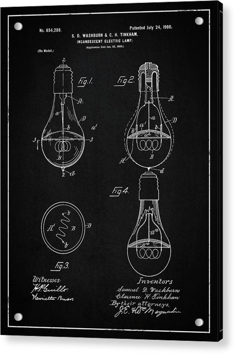 Vintage Light Bulb Patent, 1900 - Acrylic Print from Wallasso - The Wall Art Superstore