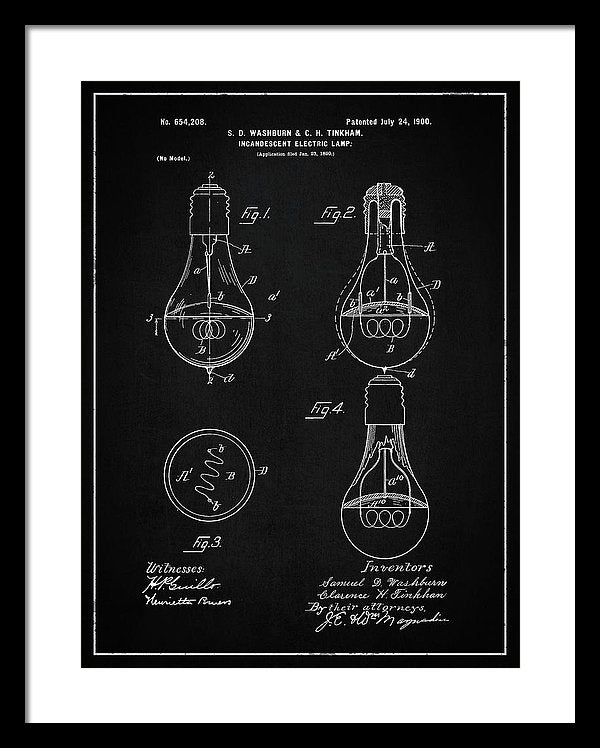 Vintage Light Bulb Patent, 1900 - Framed Print from Wallasso - The Wall Art Superstore