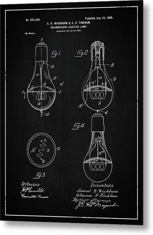 Vintage Light Bulb Patent, 1900 - Metal Print from Wallasso - The Wall Art Superstore