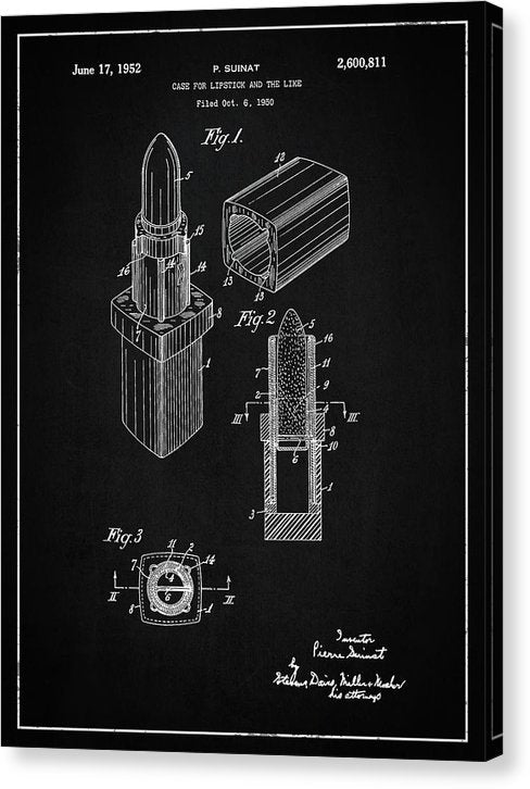 Vintage Lipstick Patent, 1952 - Canvas Print from Wallasso - The Wall Art Superstore