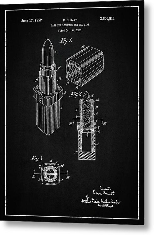 Vintage Lipstick Patent, 1952 - Metal Print from Wallasso - The Wall Art Superstore
