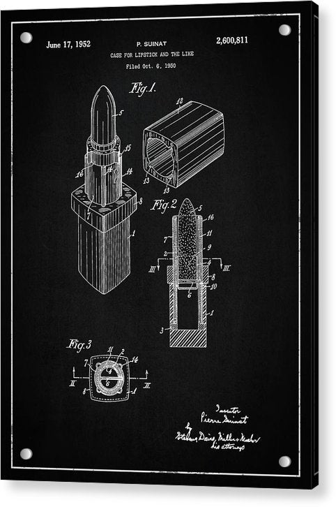 Vintage Lipstick Patent, 1952 - Acrylic Print from Wallasso - The Wall Art Superstore