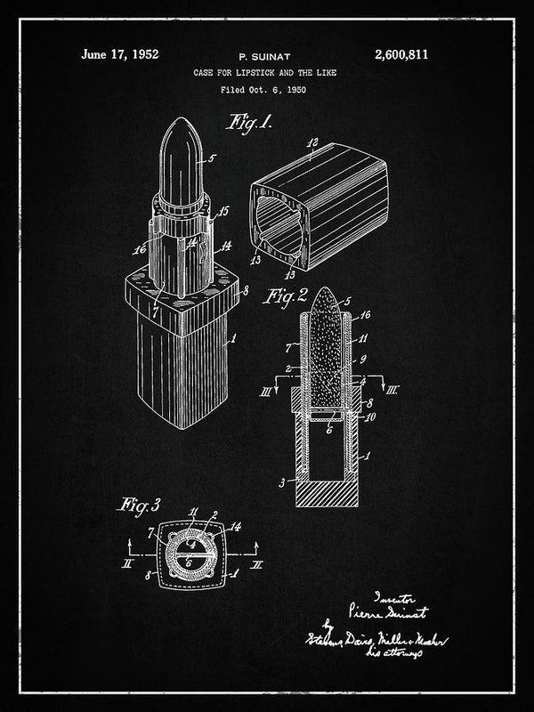 Vintage Lipstick Patent, 1952 - Art Print from Wallasso - The Wall Art Superstore