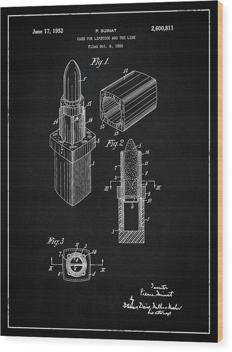 Vintage Lipstick Patent, 1952 - Wood Print from Wallasso - The Wall Art Superstore