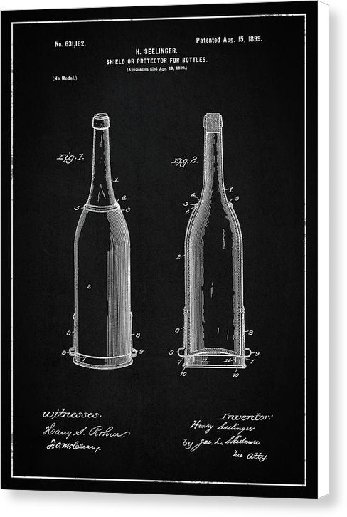 Vintage Liquor Bottle Patent, 1899 - Canvas Print from Wallasso - The Wall Art Superstore