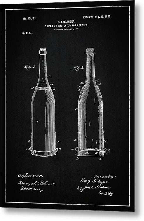 Vintage Liquor Bottle Patent, 1899 - Metal Print from Wallasso - The Wall Art Superstore