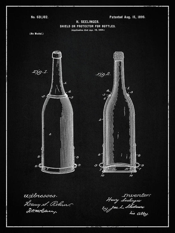 Vintage Liquor Bottle Patent, 1899 - Art Print from Wallasso - The Wall Art Superstore