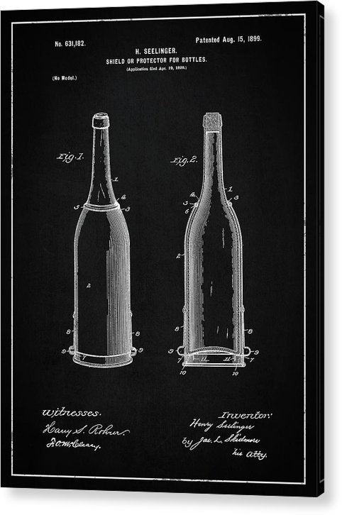 Vintage Liquor Bottle Patent, 1899 - Acrylic Print from Wallasso - The Wall Art Superstore