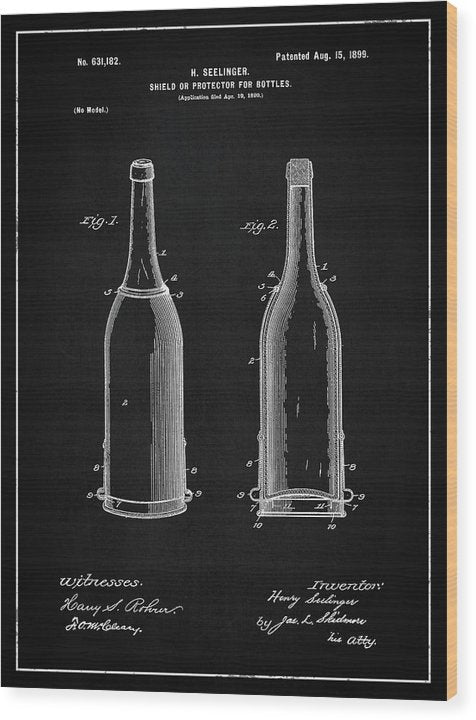 Vintage Liquor Bottle Patent, 1899 - Wood Print from Wallasso - The Wall Art Superstore