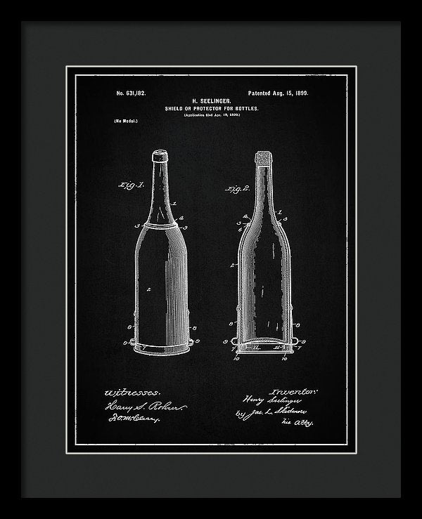 Vintage Liquor Bottle Patent, 1899 - Framed Print from Wallasso - The Wall Art Superstore