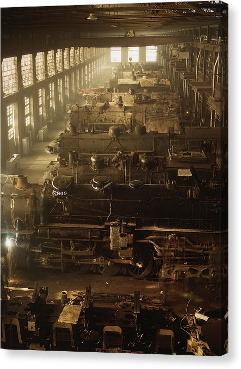 Vintage Locomotive Repair Shop, Chicago 1942 - Canvas Print from Wallasso - The Wall Art Superstore