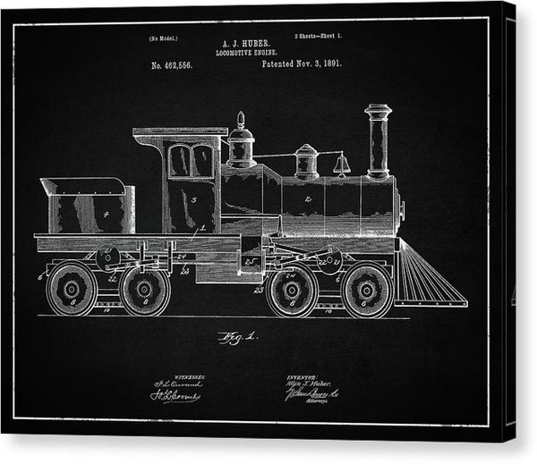 Vintage Locomotive Train Patent, 1891 - Canvas Print from Wallasso - The Wall Art Superstore