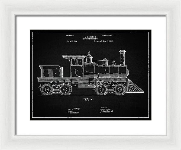 Vintage Locomotive Train Patent, 1891 - Framed Print from Wallasso - The Wall Art Superstore