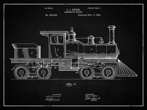 Vintage Locomotive Train Patent, 1891 - Art Print from Wallasso - The Wall Art Superstore