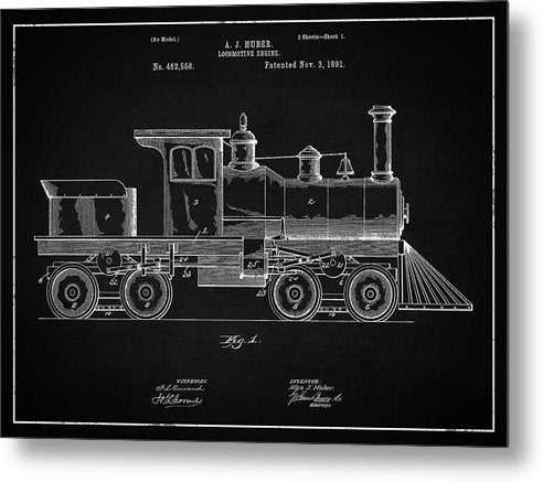 Vintage Locomotive Train Patent, 1891 - Metal Print from Wallasso - The Wall Art Superstore
