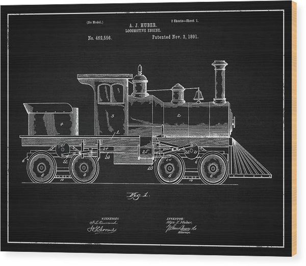 Vintage Locomotive Train Patent, 1891 - Wood Print from Wallasso - The Wall Art Superstore