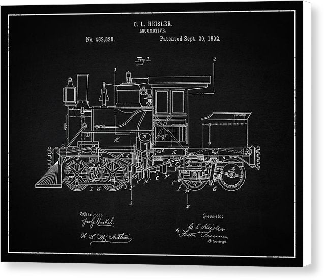Vintage Locomotive Train Patent, 1892 - Canvas Print from Wallasso - The Wall Art Superstore