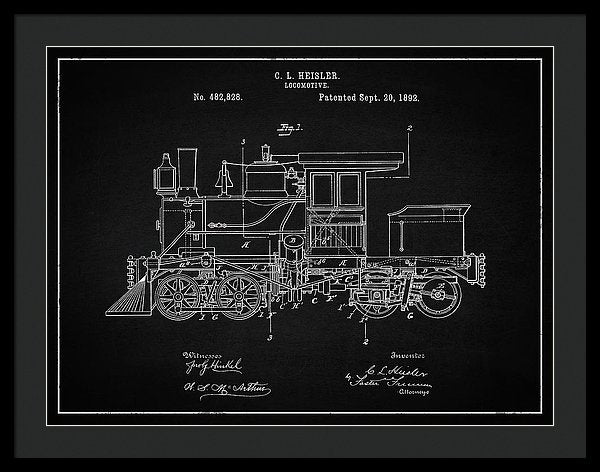 Vintage Locomotive Train Patent, 1892 - Framed Print from Wallasso - The Wall Art Superstore
