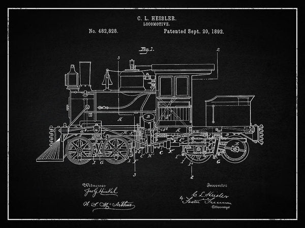 Vintage Locomotive Train Patent, 1892 - Art Print from Wallasso - The Wall Art Superstore