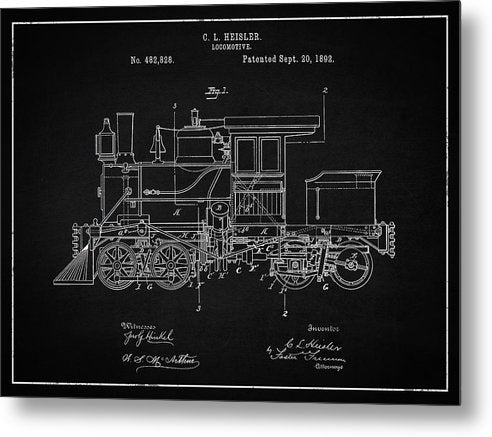 Vintage Locomotive Train Patent, 1892 - Metal Print from Wallasso - The Wall Art Superstore