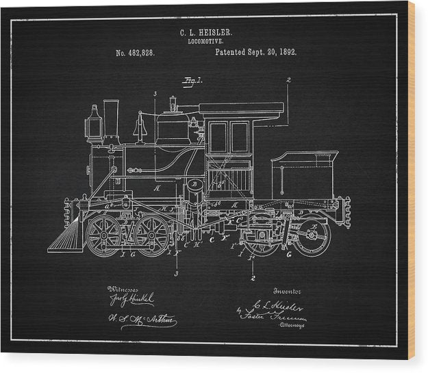 Vintage Locomotive Train Patent, 1892 - Wood Print from Wallasso - The Wall Art Superstore