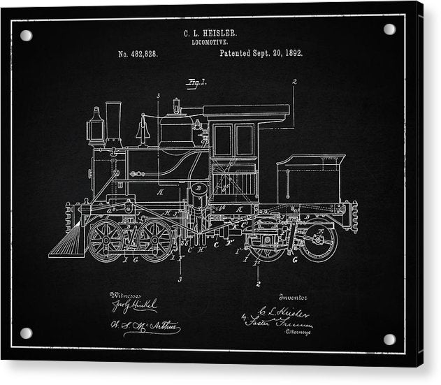 Vintage Locomotive Train Patent, 1892 - Acrylic Print from Wallasso - The Wall Art Superstore