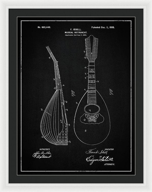 Vintage Lute Patent, 1900 - Framed Print from Wallasso - The Wall Art Superstore