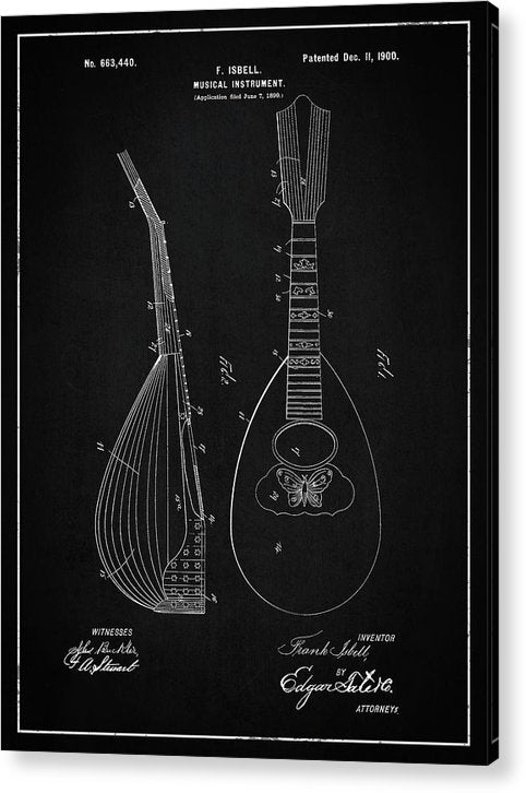 Vintage Lute Patent, 1900 - Acrylic Print from Wallasso - The Wall Art Superstore