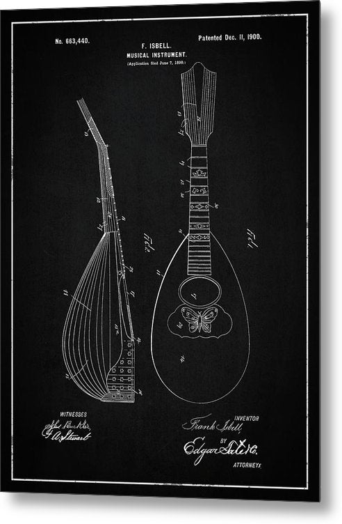 Vintage Lute Patent, 1900 - Metal Print from Wallasso - The Wall Art Superstore
