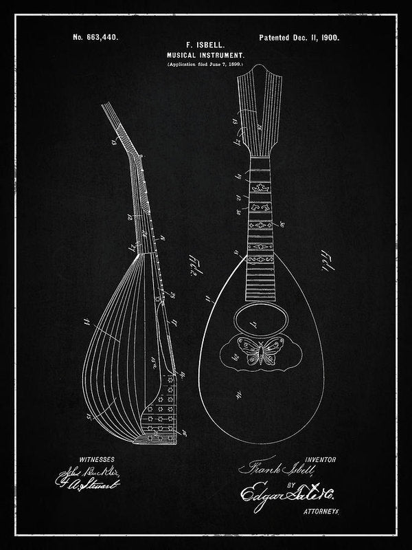 Vintage Lute Patent, 1900 - Art Print from Wallasso - The Wall Art Superstore