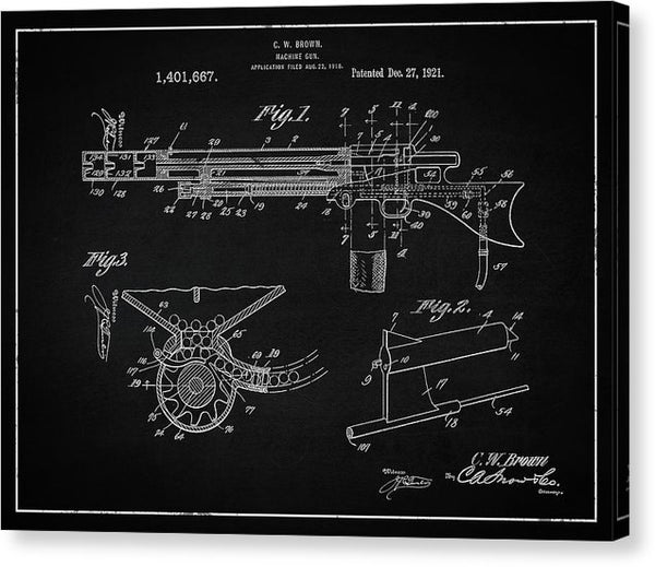 Vintage Machine Gun Patent, 1921 - Canvas Print from Wallasso - The Wall Art Superstore