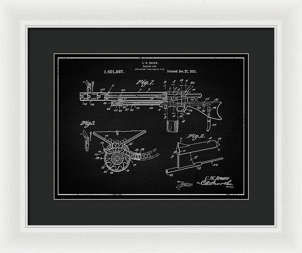 Vintage Machine Gun Patent, 1921 - Framed Print from Wallasso - The Wall Art Superstore