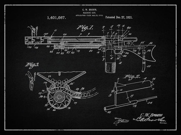 Vintage Machine Gun Patent, 1921 - Art Print from Wallasso - The Wall Art Superstore