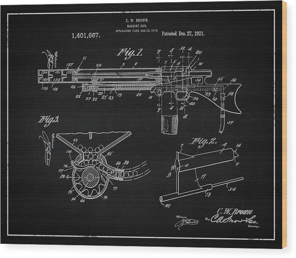 Vintage Machine Gun Patent, 1921 - Wood Print from Wallasso - The Wall Art Superstore