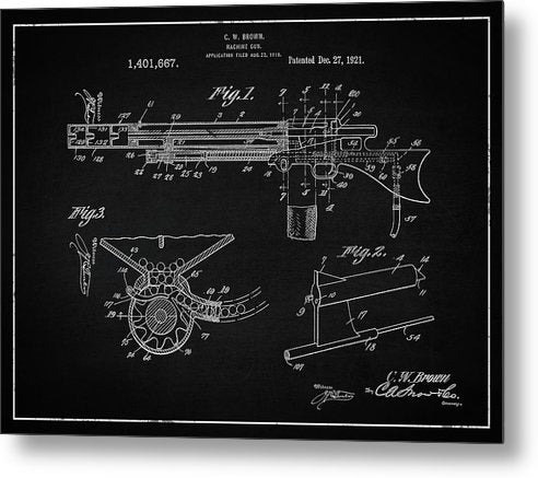 Vintage Machine Gun Patent, 1921 - Metal Print from Wallasso - The Wall Art Superstore