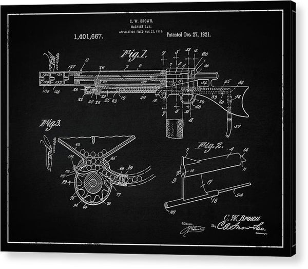 Vintage Machine Gun Patent, 1921 - Acrylic Print from Wallasso - The Wall Art Superstore