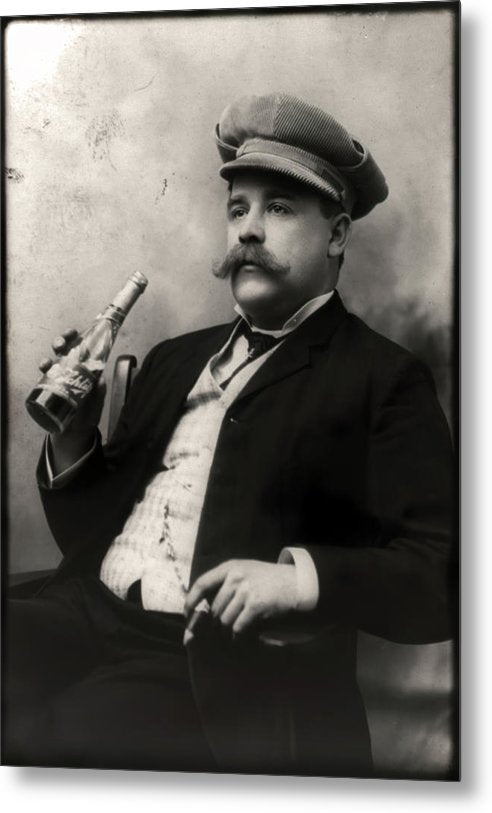 Vintage Man Drinking Schlitz Beer and Smoking Cigar - Metal Print from Wallasso - The Wall Art Superstore