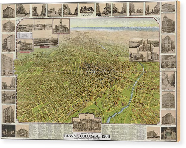 Vintage Map of Denver, Colorado From 1908 - Wood Print from Wallasso - The Wall Art Superstore