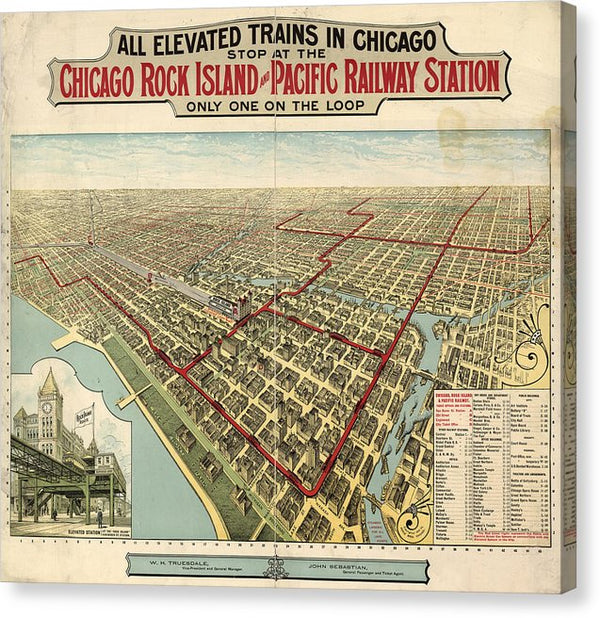 Vintage Map of Elevated Trains In Chicago From 1897 - Canvas Print from Wallasso - The Wall Art Superstore