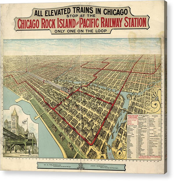 Vintage Map of Elevated Trains In Chicago From 1897 - Acrylic Print from Wallasso - The Wall Art Superstore