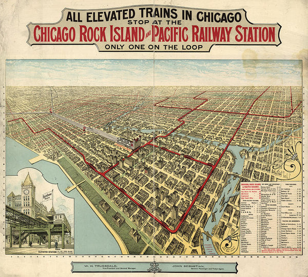 Vintage Map of Elevated Trains In Chicago From 1897 - Art Print from Wallasso - The Wall Art Superstore