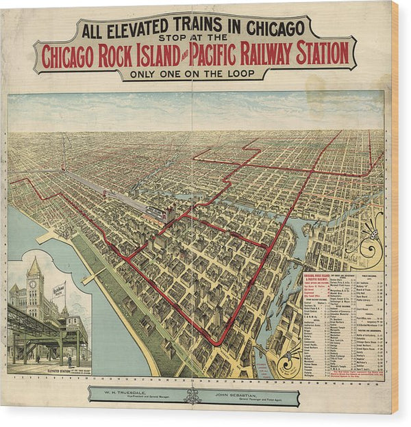 Vintage Map of Elevated Trains In Chicago From 1897 - Wood Print from Wallasso - The Wall Art Superstore