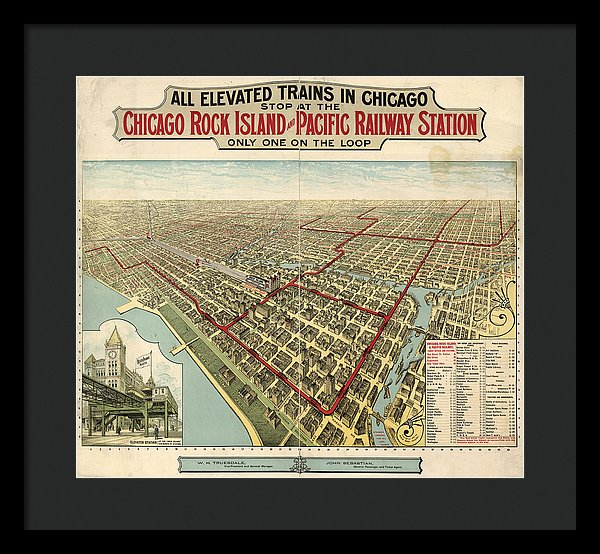 Vintage Map of Elevated Trains In Chicago From 1897 - Framed Print from Wallasso - The Wall Art Superstore